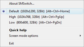 Screen Mode Switch software screenshot